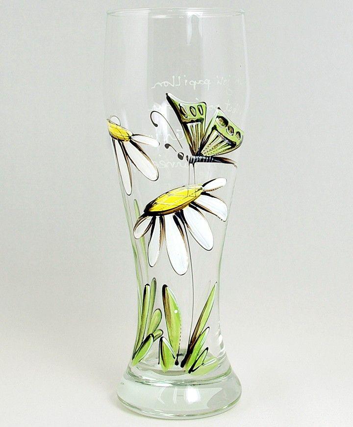 Verre à bière (510 ml) : : Marguerites et papillon   *** Produit peint à la main.