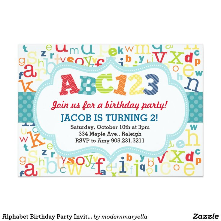 Alphabet Birthday Party Invitation