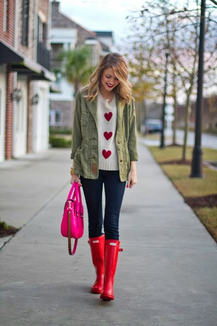 Winter Valentine! red heart sweater and red rain boots with military style jacket
