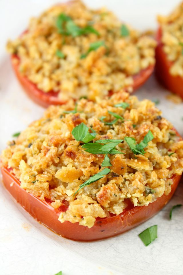 Cheddar Crumb Topped Tomatoes