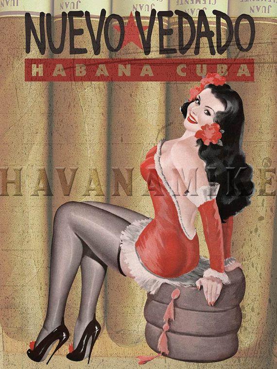 NUEVA VEDADO Cigar Pinup Poster Print by CarlsonBrands on Etsy, $19.95