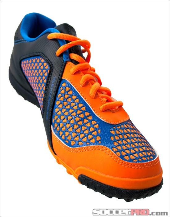 adidas Freefootball X-ite Turf Soccer Shoe - Zest with Blue and Tech Onix.