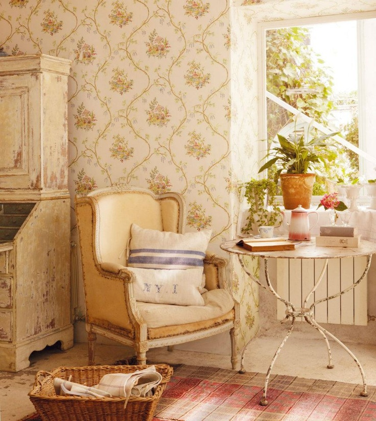 #shabby elegance  the desk by the chair that is out of the frame would be an old piano that same shade instead...