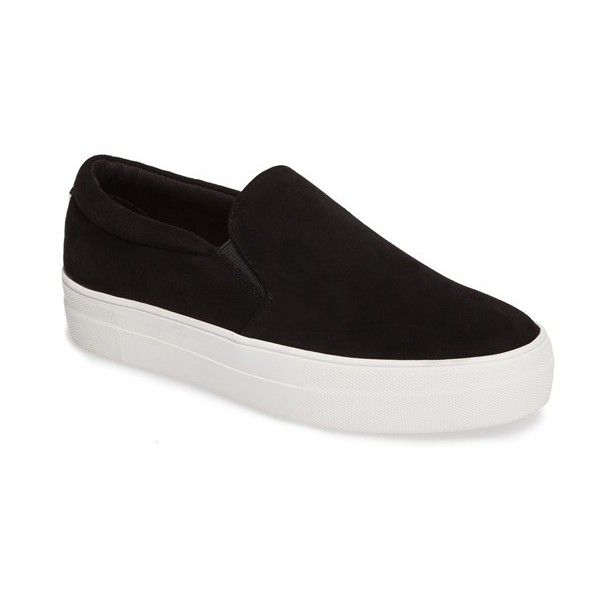 Women's Steve Madden Gills Platform Slip-On Sneaker ($80) ❤ liked on Polyvore featuring shoes, sneakers, black suede, platform sneakers, black suede sneakers, slip-on sneakers, steve-madden shoes and black slip on sneakers