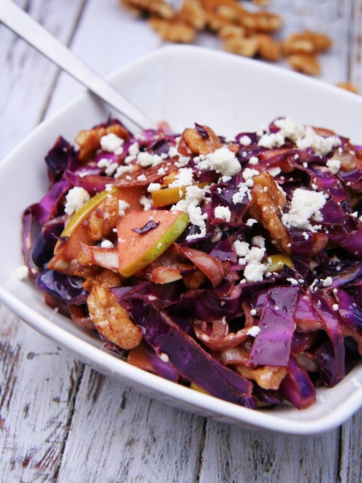 WARMED RED CABBAGE SALAD WITH TOASTED WALNUTS & GOAT CHEESE