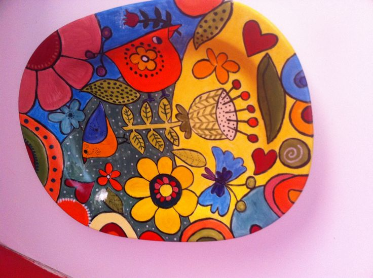 handpainted ceramic platter - bright colours and happiness :)