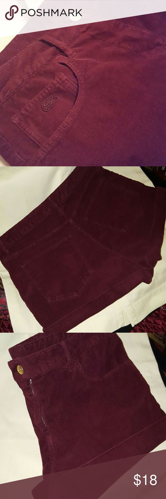 "Lacoste! Never worn! Lacoste Live! shorts, womens size Medium (will fit size 4 or 6), 11"" from top to bottom, beautiful burgandy color, corduroy texture, 98% cotton/ 2% elastane, perfect unworn condition! Lacoste Shorts"