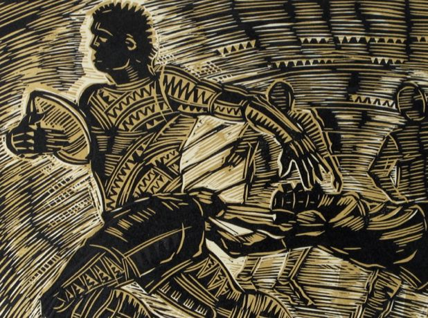 Section of 'Number Eleven – The Speedster Sefulu Tasi' Medium: Embossed Woodblock Print on Pescia Paper Dimensions (cm): h. 38 x l. 48 Limited Edition Number: of 19 Year: 2011 Image: Courtesy of the Artist Michel Tuffery M.N.Z.M, Photograph taken by Solander Gallery, Wellington