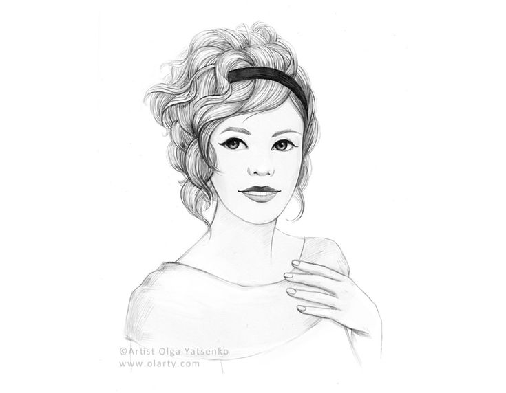 Line Drawing Of Female Face : Woman face hand drawn illustration olarty arts artist olya