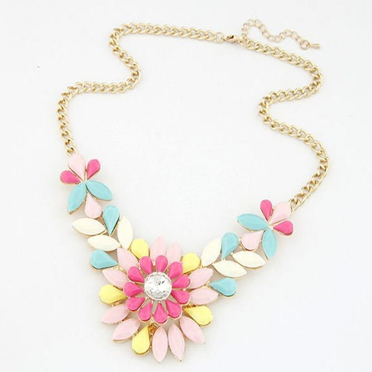 Star Jewelry Wholesale For Women Maxi Necklace 2015 New Design Fashion Gem Flowers Shiny Stone Statement Necklaces & Pendants