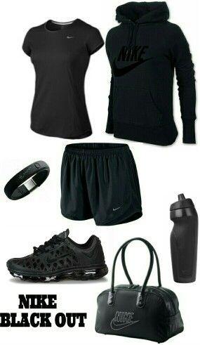 Womens fashion ALL BLACK Nike outfit