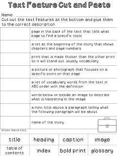 Nonfiction Detectives Text Feature cut and paste activity- part of a $ unit