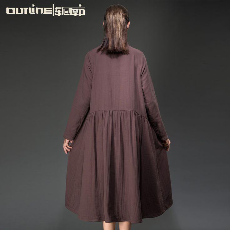План бренд тенденция женщины шерсть лоскутные платья Большой размер широкий длинное платье осень зима 100 хлопок вышивка плиссированные платья купить на AliExpress