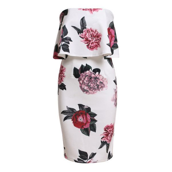 Strapless Florals Ruffle Bodycon Dress (€11) ❤ liked on Polyvore featuring dresses, floral print dress, body con dress, floral cocktail dress, strapless cocktail dress and frilly dress
