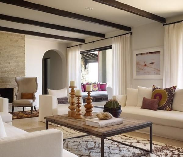.: Coffee Tables, Ceilings Beams, Living Rooms, Beach House, Expo Beams, Living Room Design, Interiors Design, Kara Mann, Wood Beams