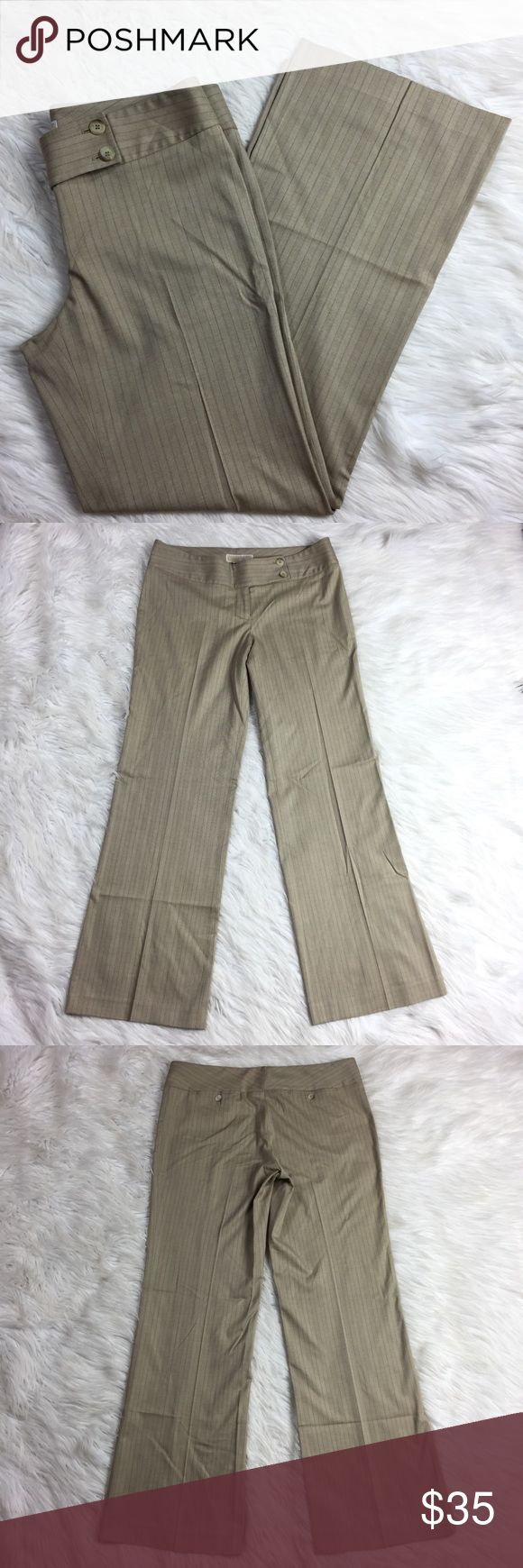 """•• Michael Kors Trousers • Light Beige Dress Pants MK pants in excellent condition overall. Only worn twice. The cut of these pants make them so flattering and comfortable on. They would be great paired with your favorite cotton shirt or even a gorgeous blouse. They have a subtle pinstripe to them when the light hits them.  Measurements (approx) Inseam: 32"""" Waist (Flat Lay): 17""""  Coming from a smoke free pet free home. (LLR2-0541) Michael Kors Pants Trousers"""