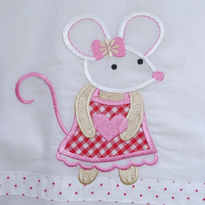 The prettiest little appliquéd mouse brings old fashioned charm to our cotton nightdresses!