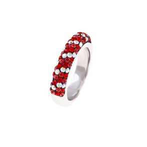 RING red & coral crystals, s.silver