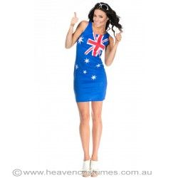 Flaunt your countries colours in this cute Australian flag dress. Buy this now at http://www.heavencostumes.com.au/australian-flag-women-s-aussie-dress.html #Australia #Dress #Costume #HeavenCostumes