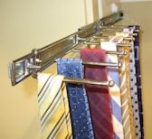 Need an easy solution for storing ties or belts in your wardrobe? Great for narrow spaces, this slide out tie slide holds numerous ties and is easy to install. Available as both wall and door mount.