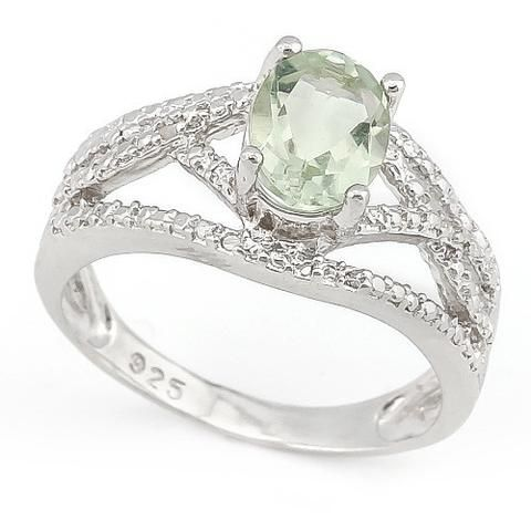 .925 Silver 1.03 CT Genuine Green Amethyst and Genuine Diamond Ring. Sizes 7,8.