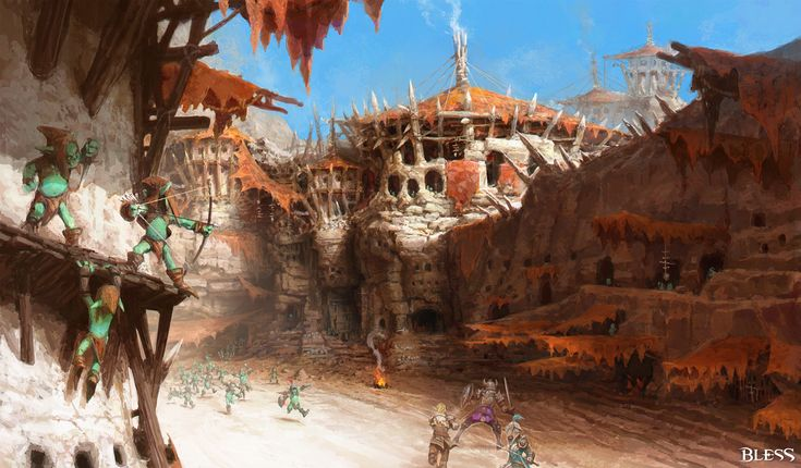 Bless online concept_Goblin town_by YA SU
