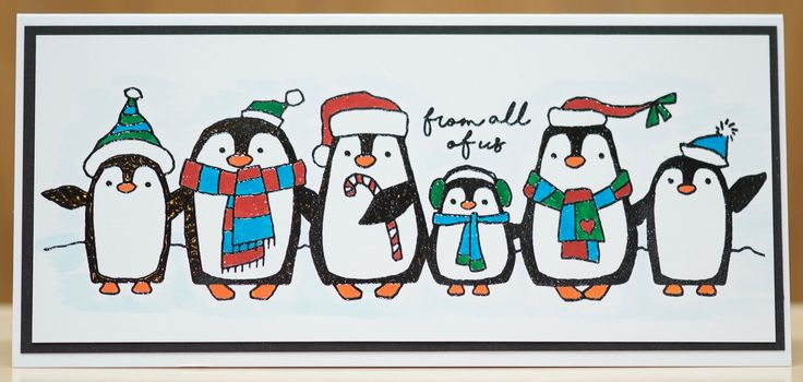 Woodware Penguin Parade. Heat embossed with fine black embossing powder and coloured with Koi Brush pens.