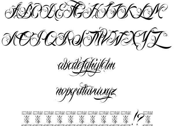 Latin style tattoo writing alphabet