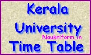 Kerala University Exam Dates PDF 2015