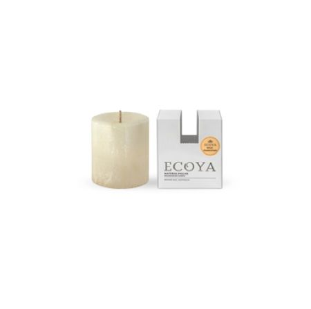 Ecoya Pillar Candle – Wild Frangipani. Voluptuous frangipani and ylang-ylang tantalize the senses with their irresistible island beauty, and are combined with the subtle classicism of rose.