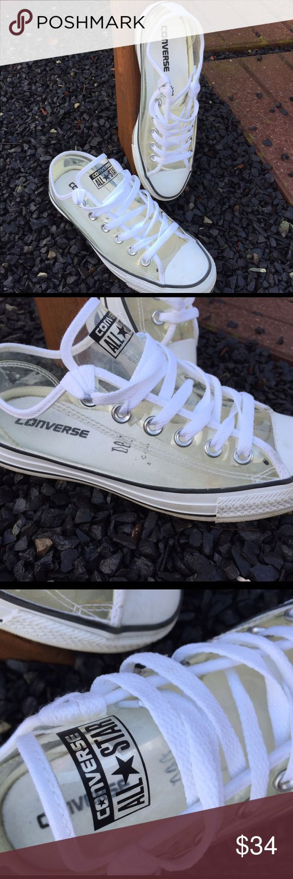 Converse All Star Clear Transparent Sneakers Size 7. Gently preowned. Be sure to view the other items in our closet. We offer both women's and Mens items in a variety of sizes. Bundle and save!! Thank you for viewing our item!! Converse Shoes Sneakers