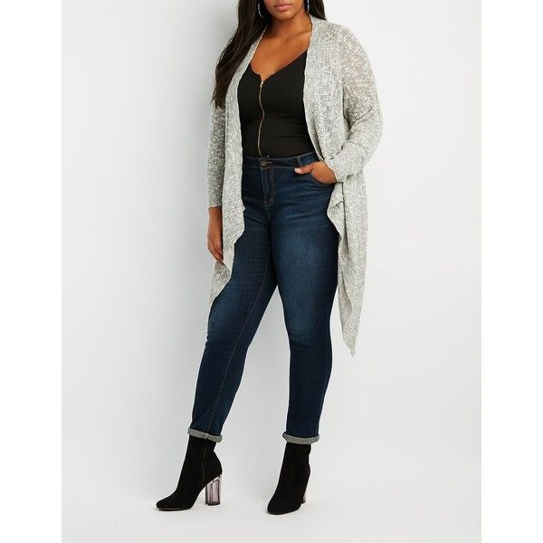 Charlotte Russe Shaker Stitch Open-Front Cardigan ($18) ❤ liked on Polyvore featuring plus size women's fashion, plus size clothing, plus size tops, plus size cardigans, multi, plus size open front cardigan, long sleeve cardigan, plus size long sleeve tops, womens plus size tops and ribbed cardigan
