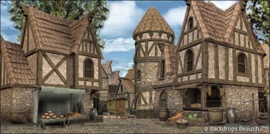 Backdrops Medieval Village 4 Banque Image Batiments