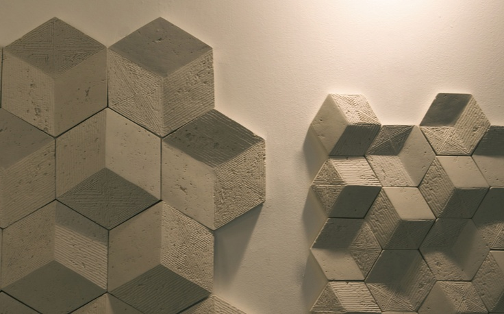 Exciton Collection.  3D Exagonal engineered marble tiles.