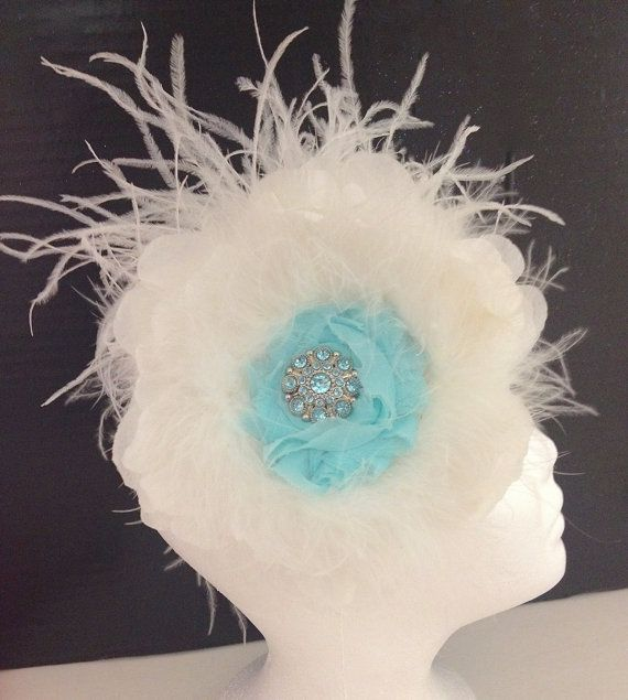 Aqua Blue White Flower Feather Couture by FancyGirlBoutiqueNYC