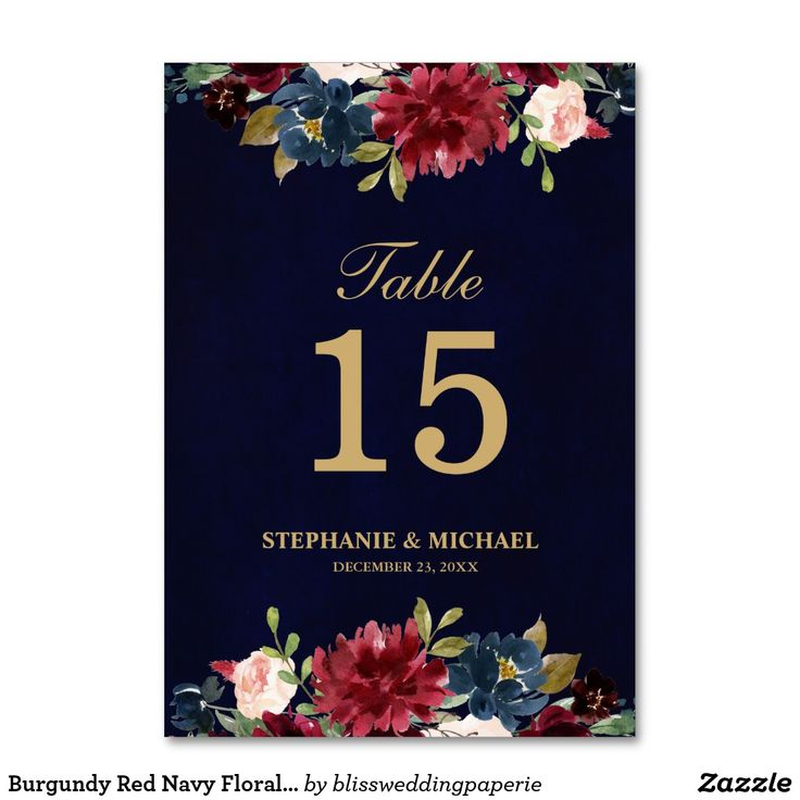 Burgundy Red Navy Floral Rustic Boho Table Number | Zazzle.com