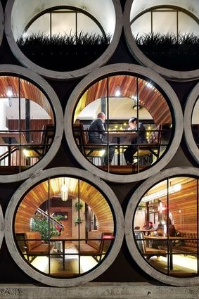 Exterior View of the concrete pipe dining booths - Prahran Hotel