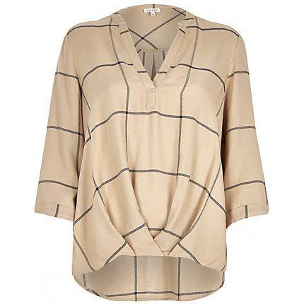 Beige check wrap front V-neck shirt £34.00