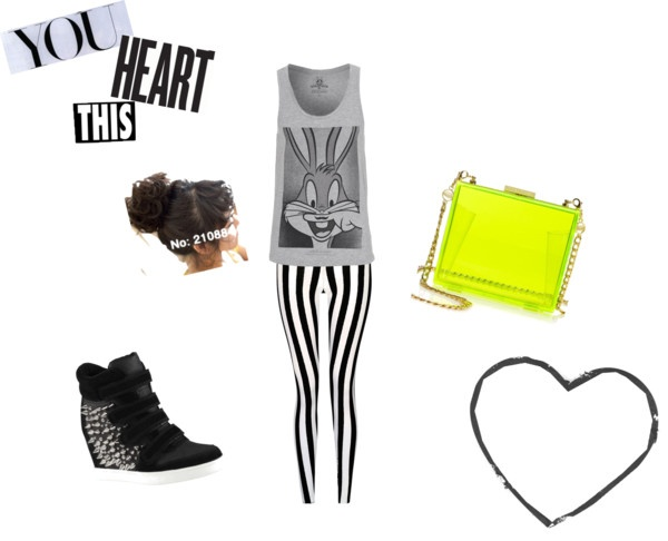 """monochrome meet neon"" by hildaolifia on Polyvore"