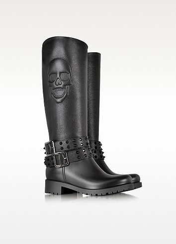 After You Black Rubber # Skull Boots - Philipp Plein - these would make awesome bike boots