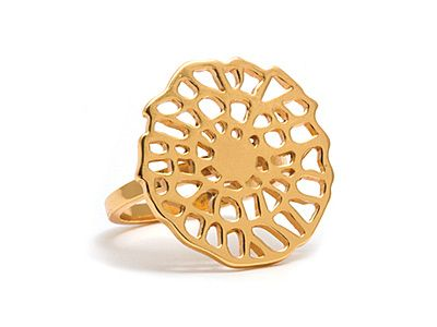 """Band ring with large cutout charm in the center. Charm is 3/4"""" wide. 18k gold plated.  As Seen (NY Magazine)"""