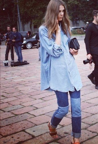 Go for the Canadian Tuxedo look but layering two different toned denim shirts and pairing with patchwork jeans.