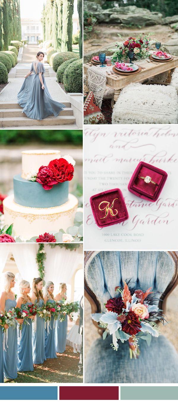 Pantone cranberry and niagara blue wedding color ideas 2017
