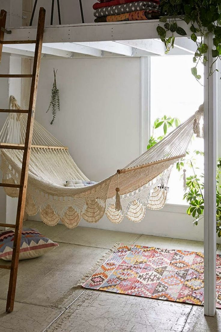 Indoor hammock bed for kids - White Wooden Loft Beds
