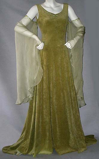 Green with hanging transparent sleeves, medieval but quite contemporary