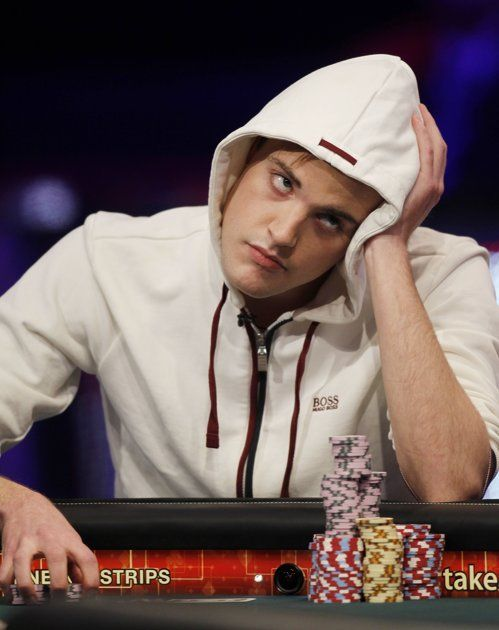 Pius Heinz, of Germany, competes at the final table of the World Series of Poker on Tuesday, Nov. 8, 2011, in Las Vegas.