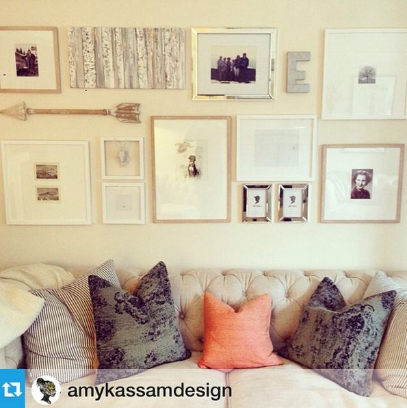Design and Gallery wall by Amy Kassam Design, using some of my artwork.  (Birch painting and custom pet portrait) www.danamooney.com