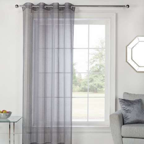 Fabricated with a woven texture, this grey sheer voile panel features an