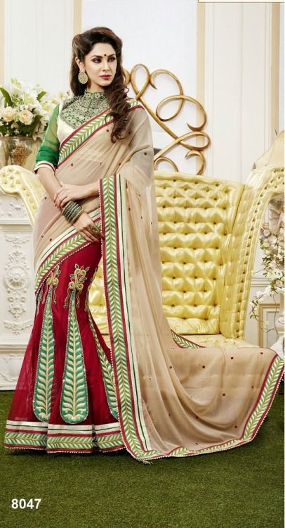 Khazanakart Heavy Embroidery Chiffon,Shimmer And Net Saree In Beige And Red Color