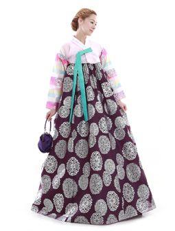 Custom Made Faux Silk Pink Silver Evening Party Hanbok Korean Dress